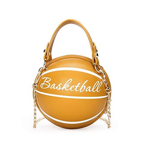 Zokrintz Mini sac à main rond en cuir PU en forme de ballon de basket pour femme - Jaune - jaune, Taille unique