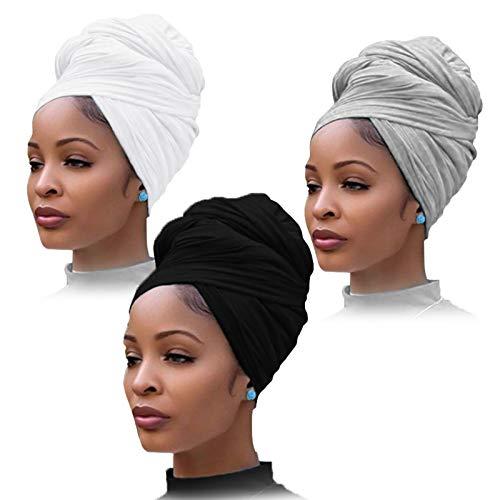 YMHPRIDE 3 Pièces Stretch Jersey Turban Head Wrap Bonnets En Tricot Écharpe De Cheveux Urbain Couleur Unie Extra Long Ultra Doux Respirant Bandeau Cravate pour Femmes (Noir, Blanc et Gris)