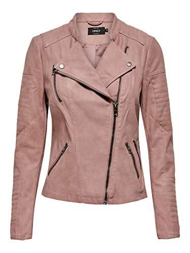 Only Onlava Faux Leather Biker Otw Noos, Carmakoma en Similicuir, Veste Femme, Rose (Ash Rose), 38 FR (36 EU)