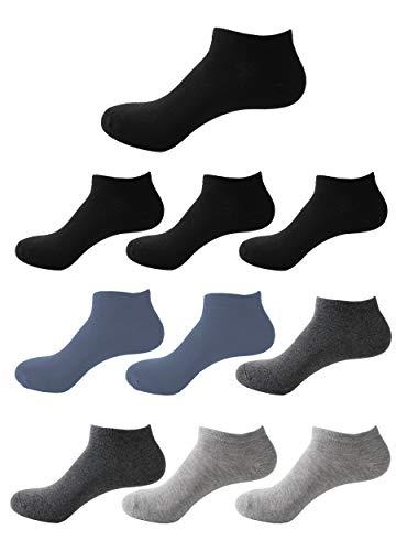 Budermmy Lot de 6 ou 10 paires Chaussette Hommes et Femmes chaussettes sport courtes Coton socquettes (H-4 noir 2 gris 2 bleu 2 gris foncé, 40-44)