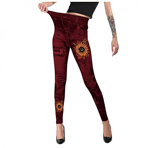 BIBOKAOKE Legging pour femme - Imprimé - En coton fin - Pantalon de sport - Pantalon de loisirs - Pantalon de sport - Yoga - Taille haute - Pantalon à enfiler - Mode streetwear stretch prix et achat