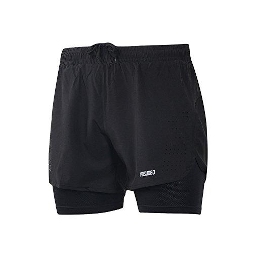 Short de sport ARSUXECO - 2 en 1 - Pour homme, Homme, FBA_B179US black L, noir, Large