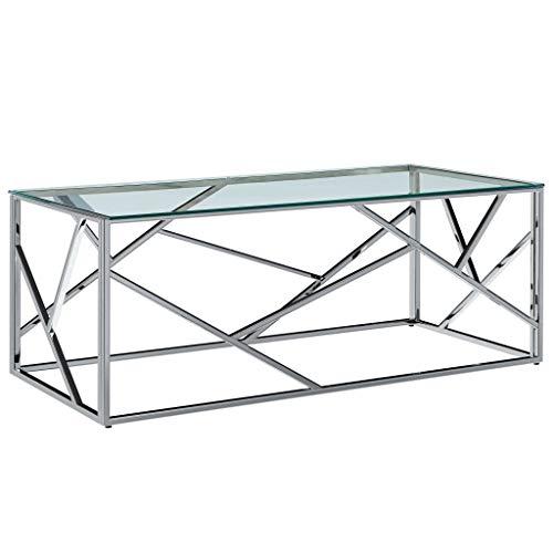 vidaXL Table Basse Table d'Appoint Table de Salon Bout de Canapé Table de Canapé Maison Intérieur Salle de Séjour 120x60x40 cm Verre Trempé et Acier Inoxydable