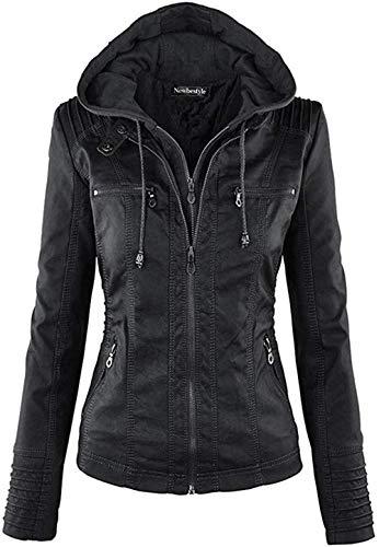 Newbestyle Femme à Capuche Veste Simili Cuir Femme Moto Style Manteau (Noir, Medium)