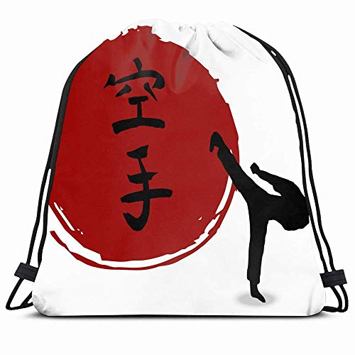 DHNKW Drawstring Backpack String Bag 14x16 Martial Men Japan Karate on Sports Recreation Traditional Japanese Energy Kimono Training Aikido Ancient Sun Sport Gym Sackpack Hiking Yoga Travel Beach