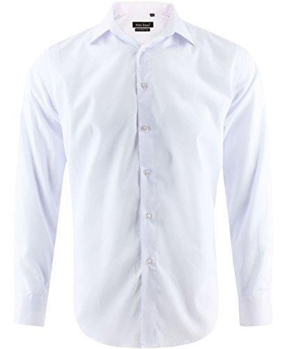 Enzo 20 Couleurs au Choix Chemise Homme Blanche Classique Coupe Droite Confort Taille M