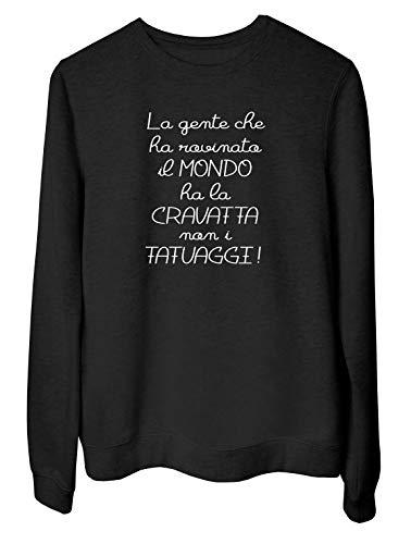 T-Shirtshock Sweatshirt Ras du Cou por Femme Noir T0842 la Gente Che ha rovinato il Mondo ha la...