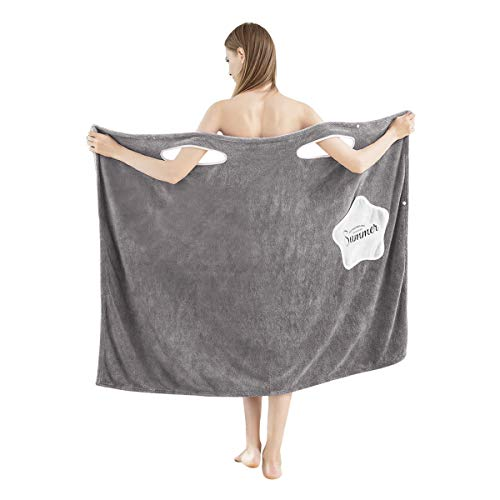 Peignoir Femme Serviette de Bain en Polaire Corail Épaissir Robe à Serviette de Plage Sans...