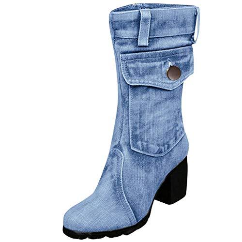 manadlian Bottes Femmes Vintage Bottines Rétro Bottes en Denim Femme Chaussures à Bout Rond...