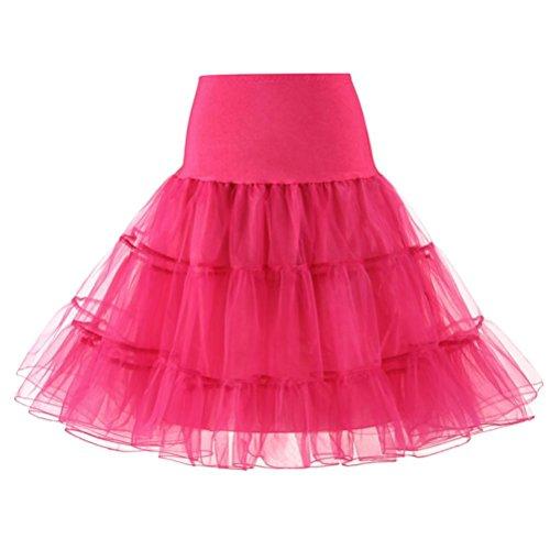 jupe femmes Maille haute taille Tutu Robe de bal Ballet jupe Jupe courte plissée à taille haute Haute qualité Toamen (L, Rose vif) prix et achat