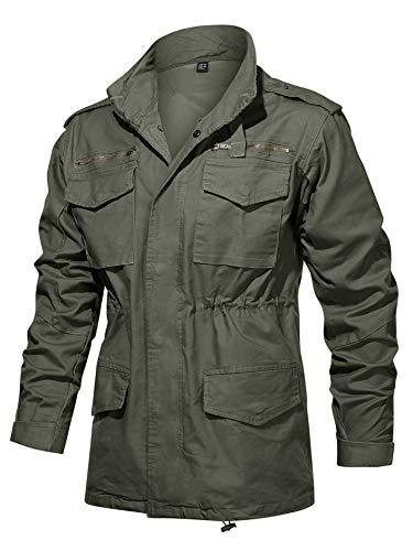 TACVASEN Veste de travail pour homme en coton - Veste tactique militaire - Bomber Airsoft - Veste d'extérieur - Veste cargo à capuche - Automne - Vert