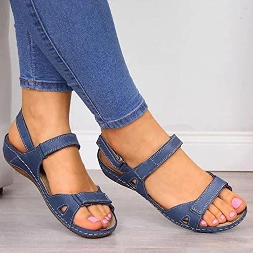 DZQQ Femmes Sandales Plates 2020 été Bout Ouvert Solide Faux Cuir orthopédique Femmes Chaussures Plate-Forme décontractée Rome Dames Gladiateur