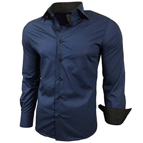 Subliminal Mode - Chemise Homme Bicolore uni Manches Longues Coupe Slim Business RN44,M,Bleu Marine prix et achat