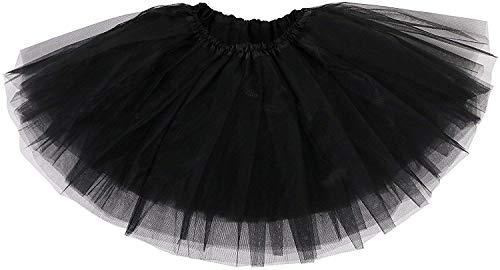 Ksnnrsng Femme Ballet Tutu Tulle Jupes 3 Couche Pettiskirt Mini Robe pour S'habiller Fête Les Costumes Danse (Noir)