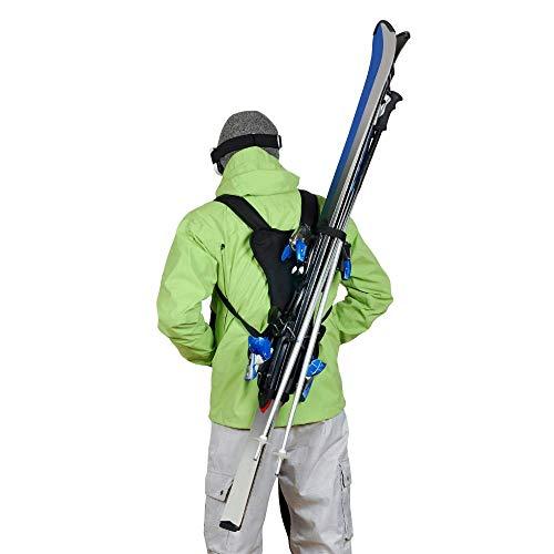 Wantalis - Skiback double - Un produit révolutionnaire pour porter 2 paires de skis en libérant vos mains - Bretelles adaptables et réglables