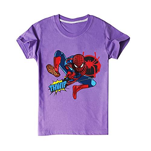 XNheadPS Super-héros Enfant T-Shirt Unisexe Spiderman Chemise Haut été garçon Fille T-Shirt Respirant Confortable t-Shirt Pull Chemise Cadeau d'anniversaire,Purple-110cm