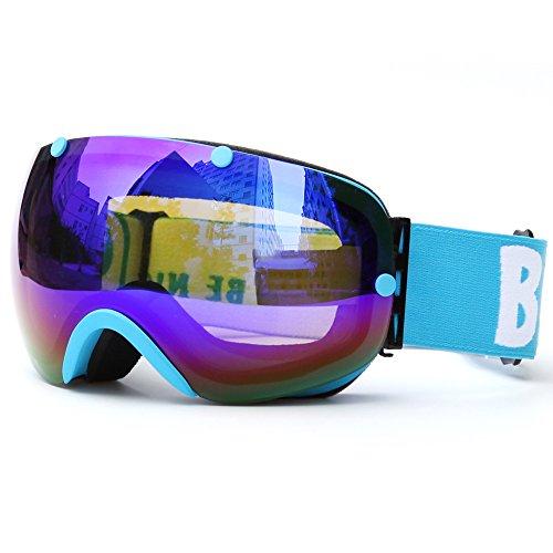 Lixada Ski d'hiver Lunettes, Protection UV400 double lentille Snowboard Lunettes B - Lila - Zoll 7,0 3,7- prix et achat