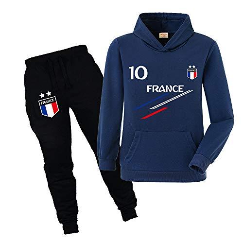 Xpialong Jogging Survêtement De Football France 2 étoiles Enfant Sweat à Capuche avec Poche...