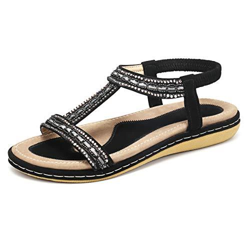 Gracosy Sandales Femmes Plates, Chaussures Été Nu Pieds à Talons Plats Claquettes Plage...