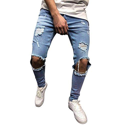 Kobay Hommes Pantalon Slim en Denim Stretch Pantalon en Jean Slim DéChiré DéChiré Et...