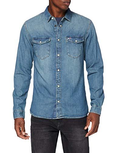 Tommy Jeans TJM Western Denim Shirt Chemise, Bleu (Mid Indigo), S Homme