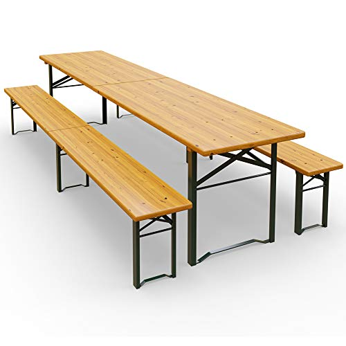 Deuba Ensemble Table et bancs 3 Pieds pliants 220 cm pour Jardin terrasse fête
