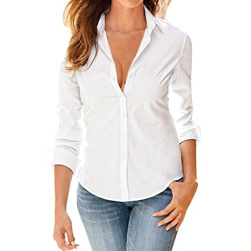 LAEMILIA Femme Chemise Commercial Moulante Blouse Col en Strass Manches Longues Button Up Slim Blouses Tops (FR38, Blanc)