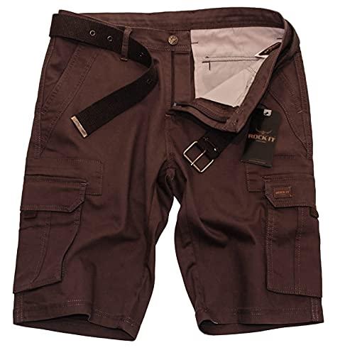 ROCK-IT Apparel Bermuda pour Hommes avec Ceinture Bermuda Vintage avec 6 Poches à Fermer Pantalon Court d'été pour Hommes - Tailles S-5XL - Marron XL