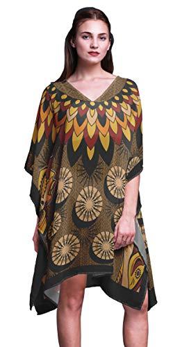 Phagun Marron Tribal Africain Caftan Short Robe De Plage Midi Robe De Plage Couvrez-Vous du Caftan pour Femmes-4X-5X prix et achat