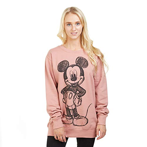 Disney Mickey Forward Sketch Sweat-Shirt, Rose (Dusty Pink Ltpk), 42 (Taille Fabricant: Large) Femme