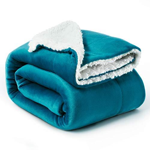 Bedsure Plaid Couverture Polaire Sherpa Turquoise 150x200cm - Couverture de Lit Réversible Double Face Douce et Chaude Plaid Jeté de Canapé Flanelle