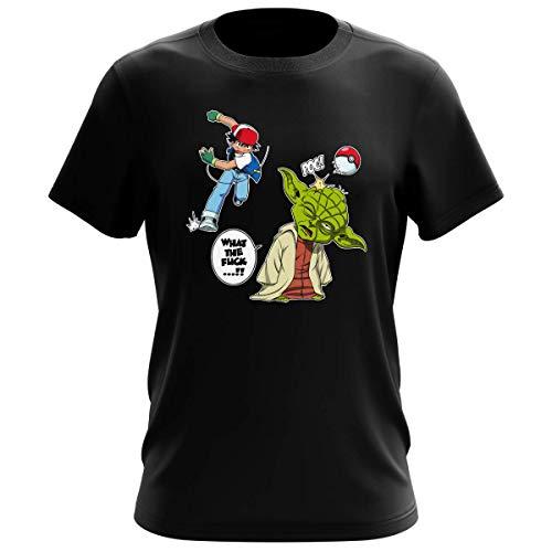 T-Shirt Jeux Vidéo - Parodie Yoda de Star Wars et Sacha de Pokemon - What the...!? - T-shirt Homme Noir - Haute Qualité (711) - X-Large