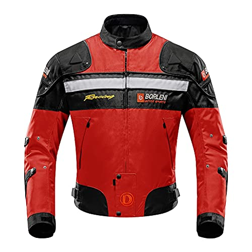 Veste de moto, blouson moto homme sport avec armure pour l'automne Hiver (Rouge, L)