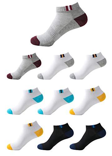 Budermmy Lot de 10 paires Homme Chaussettes de sport Femme chaussettes courtes basses respirantes (Multicolore , 41-46)