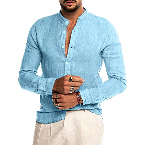 SANFASHION Chemisier Homme Lin, Chemise Coton Col Mao,Tops Shirt Casual Manches Longues Slom...