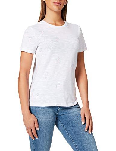 Only ONLBONE Life REG S/S Top Box JRS T-Shirt, Blanc Brillant/AOP : Palms, L Femme prix et achat