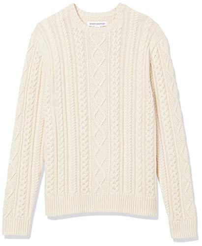 Amazon Essentials Long-Sleeve 100% Cotton Fisherman Cable Crewneck Sweater Pull, Blanc Cassé, L prix et achat
