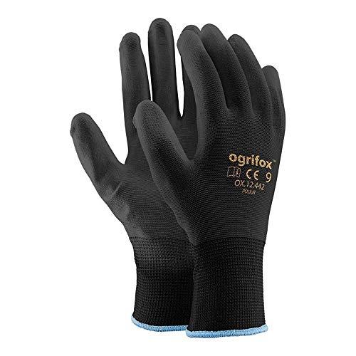 Ogrifox OX-Poliur_Bb9 OX.12.442 Lot de 24 gants de protection Noir 9 tailles