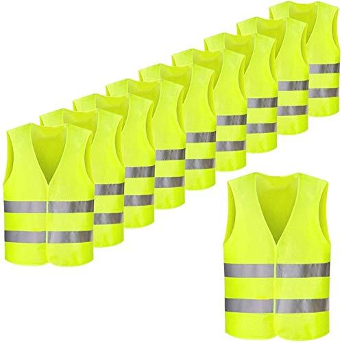 FEMOR, Lot de 10PCS Gilets de Sécurité Jaune Fluo Réfléchissant, Haute Visibilité pour...