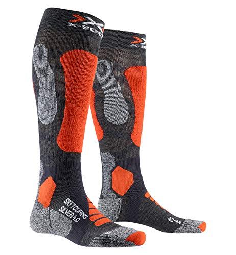 X-SOCKS Chaussettes Ski Touring Silver V4.0 Chaussettes de ski de randonnée Homme Gris (Anthracite/Orange) M (Taille Fabricant : 39-41)