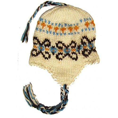Bonnet Company - Bonnet péruvien Blanc Motif Bleu Marron
