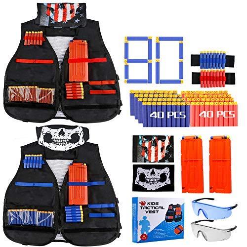 Gafild Kit De Gilet Tactique, 92 Pcs Gilet Tactique Enfant pour Nerf N-Strike Elite Series avec 80 fléchettes, 2 Clips de Recharge, 2 Masque Facial, 4 Wrist Bands, 2 Lunettes Protection