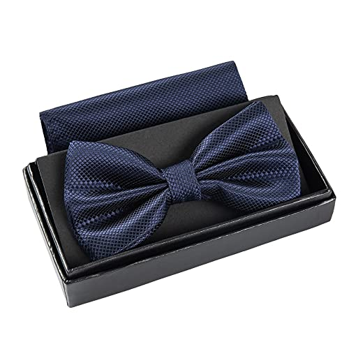Massi Morino ® Nœud Papillon (Bleu foncé) Mouche Hommes pré-liées avec Mouchoir y Compris boîte Cadeau Marine