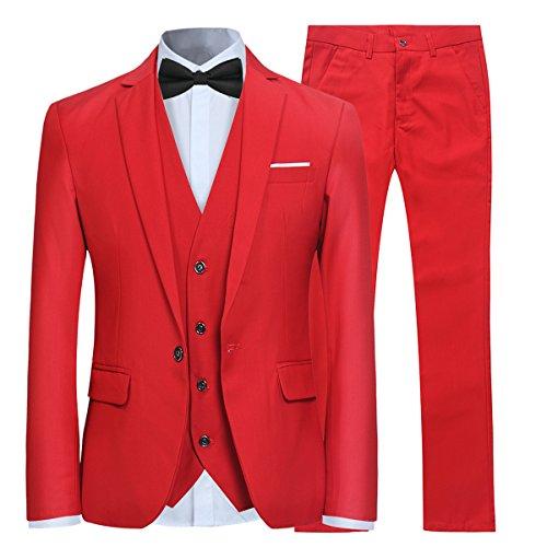 Costume Homme Mariage 3 Pièces Slim Fit Smoking Costumes Couleur Pure Formel Veste Gilet et...