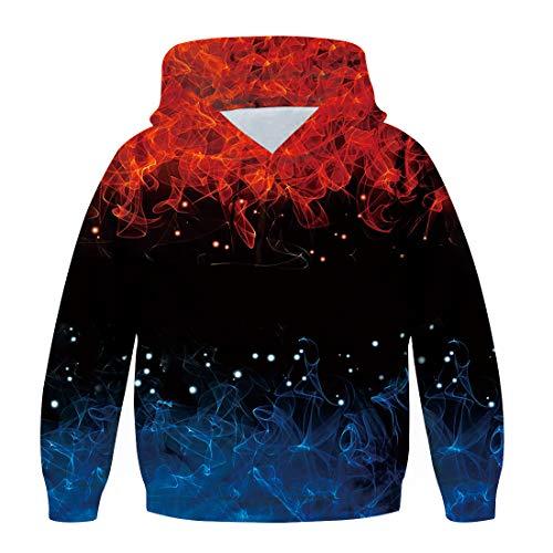 chicolife Sweats à Capuche 3D pour garçons Pull à Flammes colorées imprimées avec Poches...