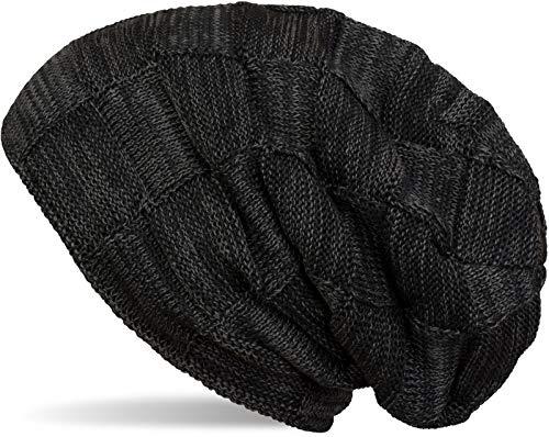 styleBREAKER Bonnet tricoté Checked Beanie en Laine Fine Chaude avec Un Motif tressé et Une...