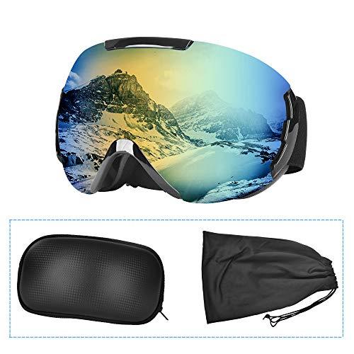 Charlemain Lunette de Ski, Masque Ski Sphériques avec Double Lentille Anti-buée, Coupe-Vent,...