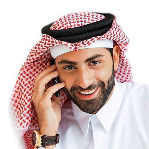 BaronHong Classic Motif Moyen-Orient Arabe Tête Couverture Turban Hommes Muslim Foulard (rouge, M)