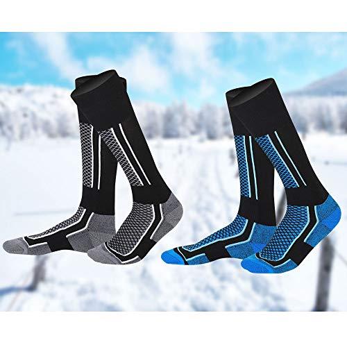 EMAGEREN 2 Paires Chaussettes de Ski Chaussette de Ski Homme Thermique Haute Performance Chaussette de Ski Chaude Chaussettes Ski Thermique pour Hommes Snowboard Randonnée Cyclisme Sport d'Hiver