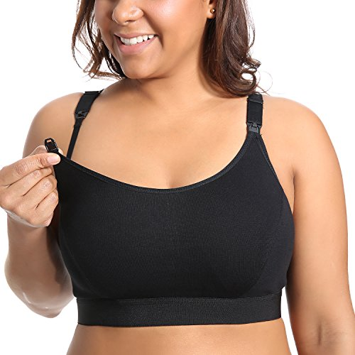 Gratlin Femme Soutien-Gorge d'allaitement en Coton Emboîtant Grande Taille Noir XL